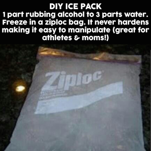 How to make an ice pack - use this DIY ice pack recipe instead of buying ice packs. The rubbing alcohol will prevent the water from fully freezing.