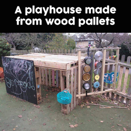Use wood pallets (from your own garden or get some that your local nursery is throwing out) and make an incredible playhouse for the kids! Neat -