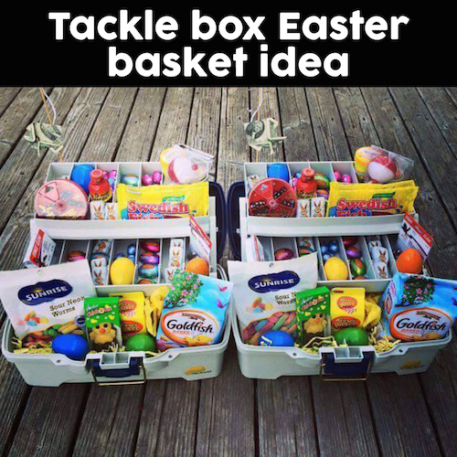 Tackle Box Easter Basket - great idea! Filled with gummy worms, goldfish crackers, Swedish fish, Easter candy, and plastic eggs in all the compartments. Throw in some actual bait/fishing supplies too!