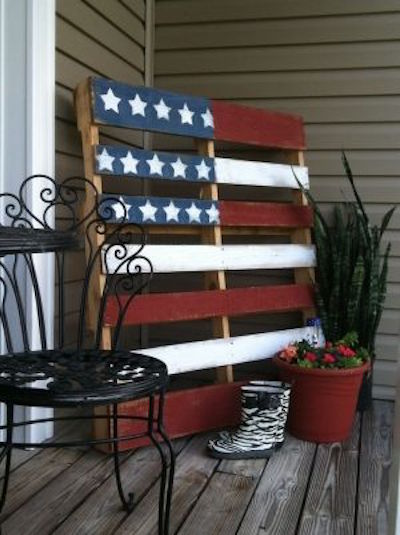Make an American flag out of a wood pallet! This is SO easy to do! Just use red, white, and blue paint. This is a great idea for summer!