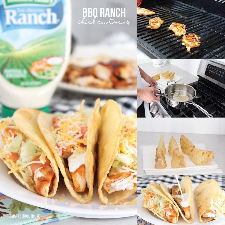 BBQ Ranch Chicken Tacos - with delicious homemade taco shells!