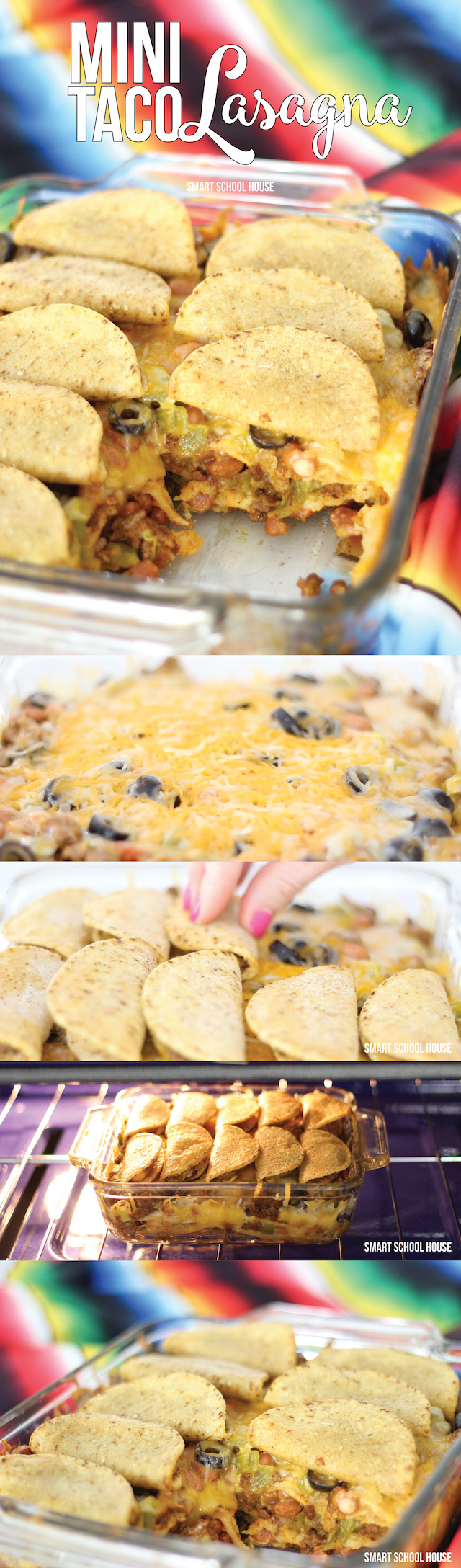 Mini Taco Lasagna - easy Mexican dinner recipe idea (or appetizer for Cinco de Mayo!). Layers of tortillas, beef, cheese, beans, chiles, and mini tacos!