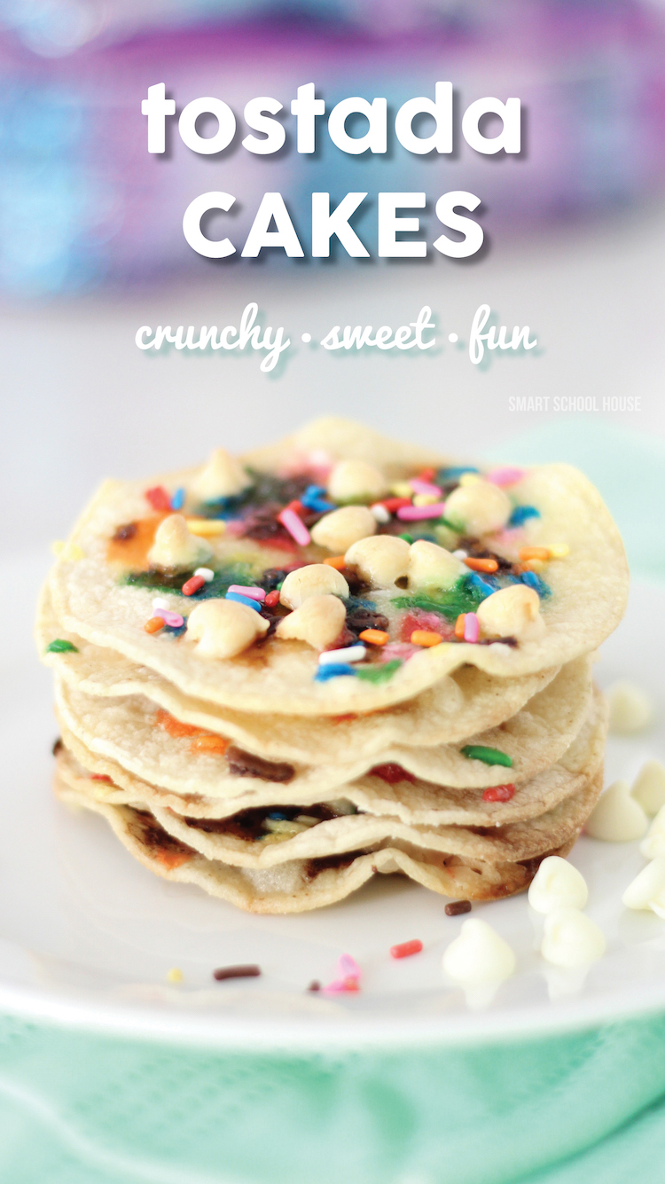 Tostada Cakes - small, crunchy, sugary tortillas topped with sprinkles and white chocolate chips!