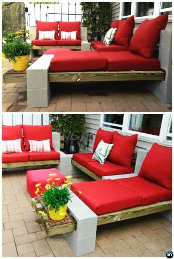 DIY Outdoor Cinder Block Lounge chair
