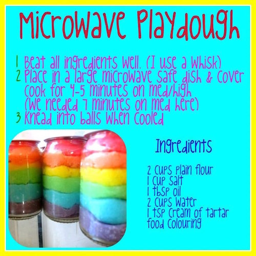How to make play dough in microwave - easy enough!