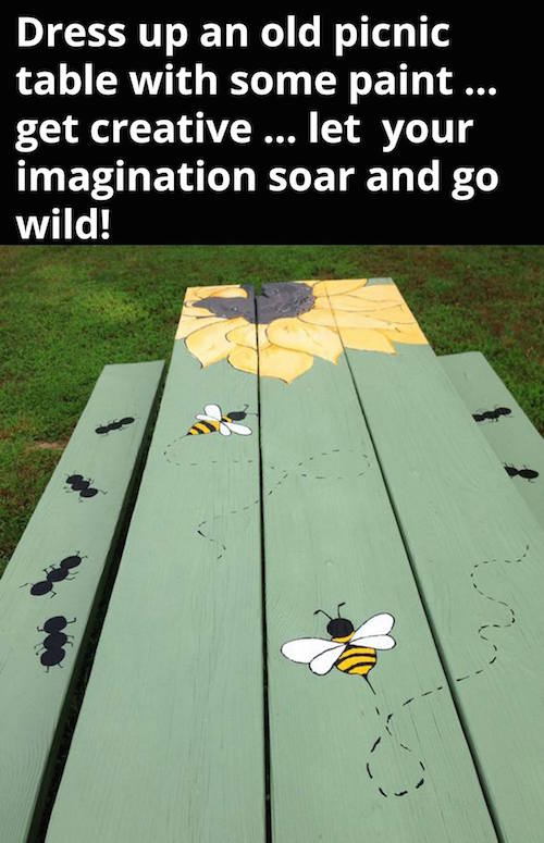 Paint a picture on a picnic table - this is a great idea for kids during the summer!