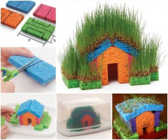 Sponge Garden - Fun idea to do with your kids! Make a little grass house with colorful sponges