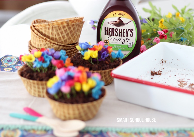 Waffle Cone Garden Recipe with Hershey's syrup