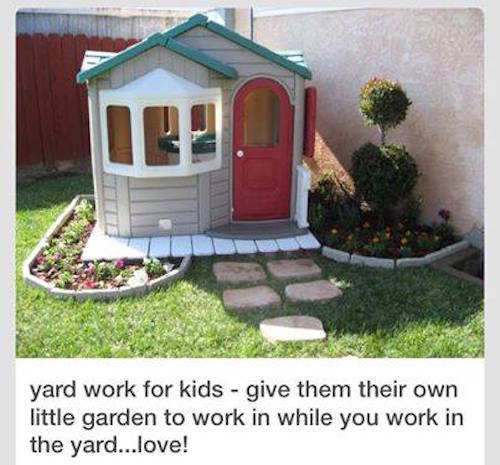 Make a garden outside of a kids playhouse - fun!