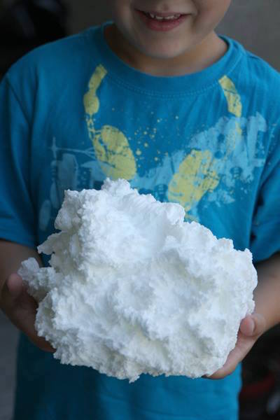 This is what happens when you microwave a bar of Ivory soap! Then you can tear it up, color it, and mold it into shapes! It's not wet and messy, either!