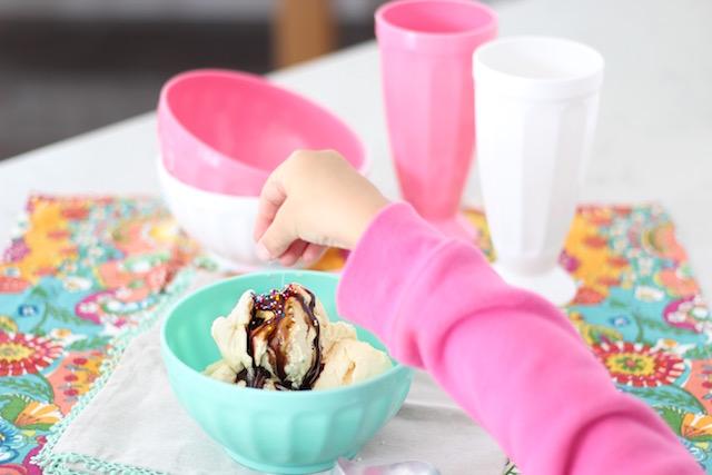 Chocolate sundae with sprinkles