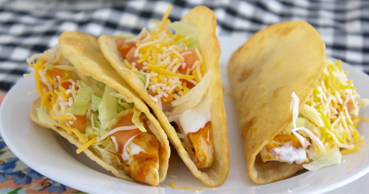 EASY Ranch Chicken Tacos - With Homemade Crispy Taco Shells!