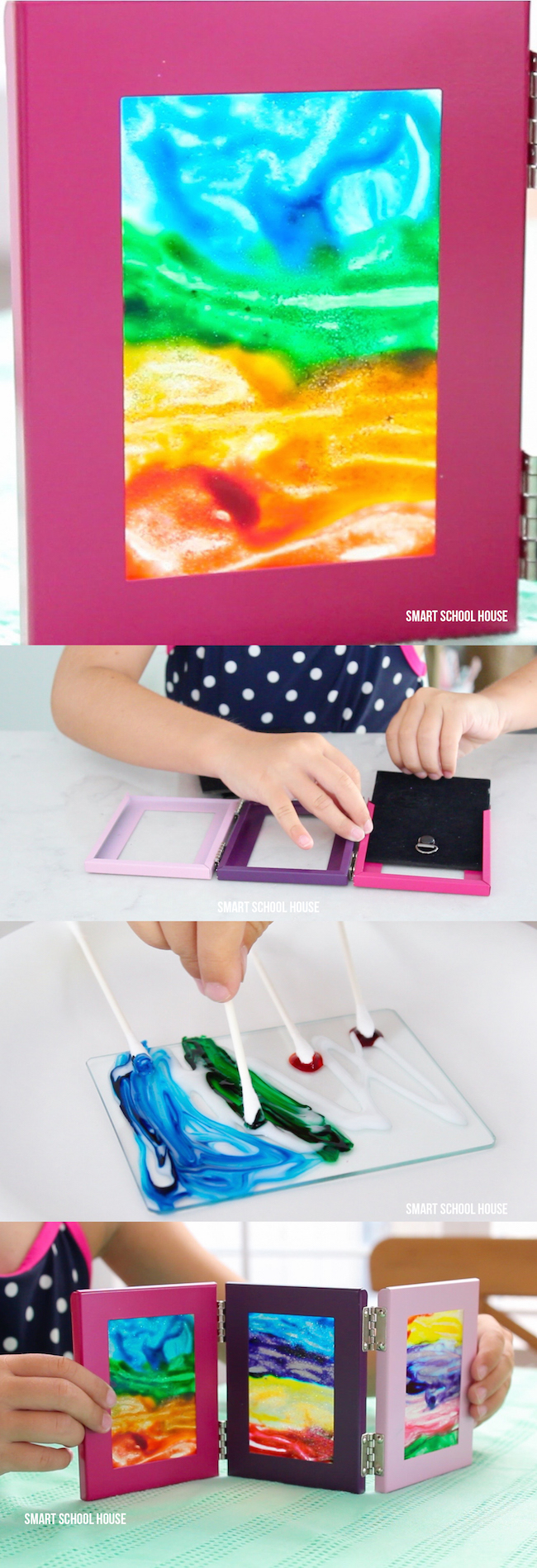Glue and food coloring art activity for kids.