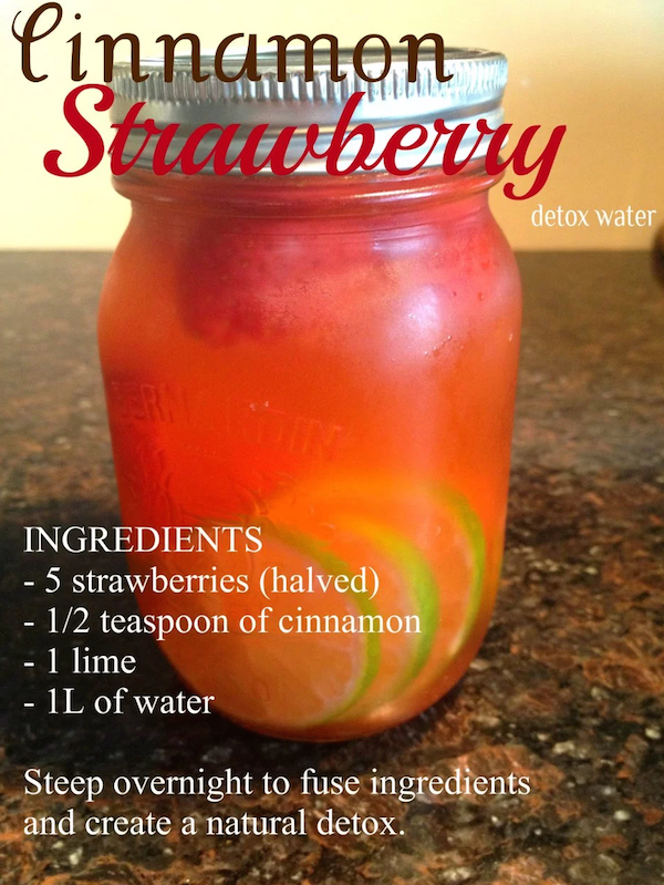 DIY Cinnamon Strawberry Detox Water Recipe. I'd love to try this!
