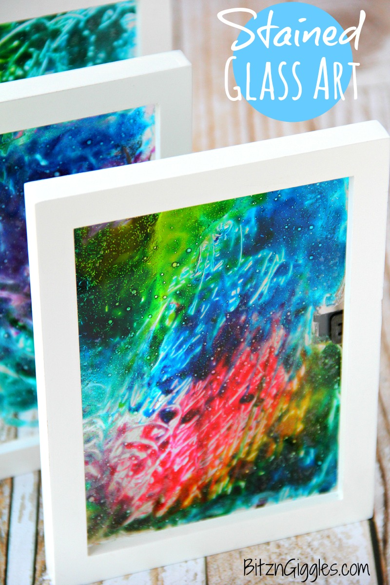 Glue and food coloring stained glass art craft for kids.