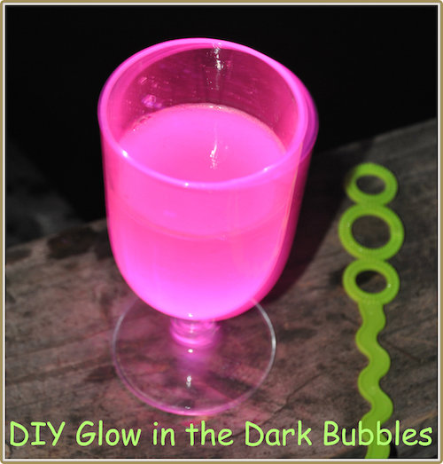 Break a glow stick and make glow in the dark bubbles - must try!