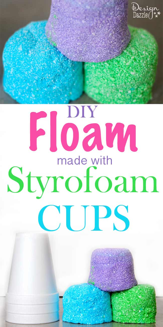 how to make FLOAM using styrofoam cups. Super easy and inexpensive way to make this fun play floam!