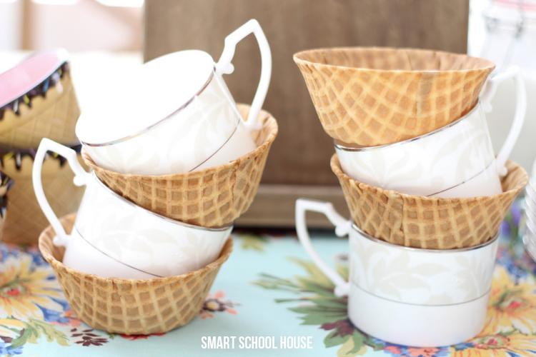 Edible waffle cone tea cups