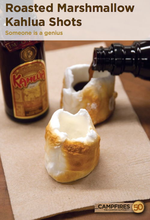 Marshmallow Kahlua Shots - this looks fun for the adults on the camping trip! Gently roast a marshmallow, empty out the center of a marshmallow, and pour Kahlua inside.