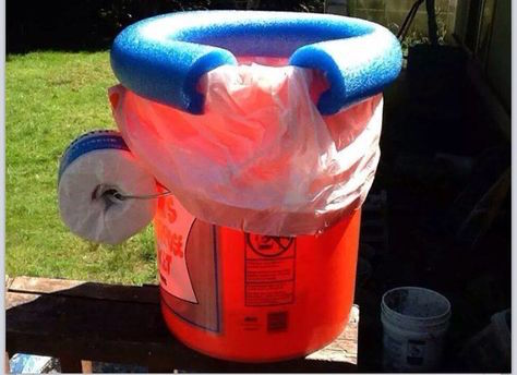 DIY camping toilet - ha! Kind of smart though.... Saving this idea!