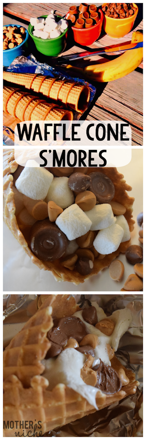 Allow me to introduce you to the best s'mores you will ever try: Waffle Cone S'mores. So genius, and so so good!