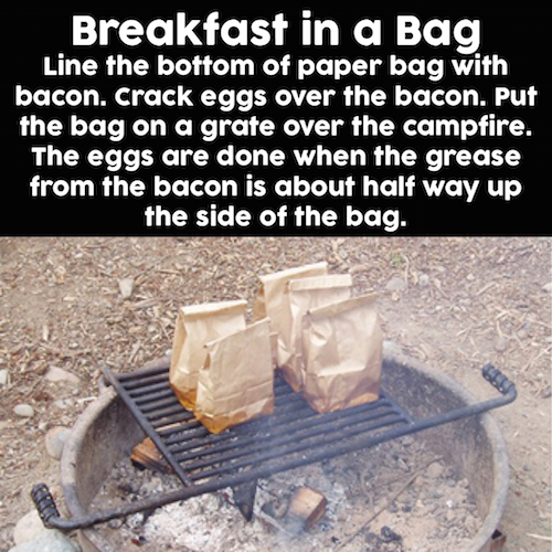 Breakfast In A Bag over a campfire - Must try!