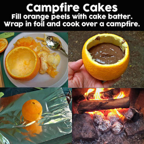 Campfire Cakes - Oranges, fire and deliciousness. Fill orange peels with cake batter and cook them over a campfire like this. Must try!