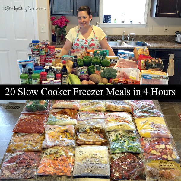 20 Slow Cooker Freezer Meals in 4 Hours to give your family a new and exciting dinner for 20 days! No recipe is duplicated so there is truly twenty meals.
