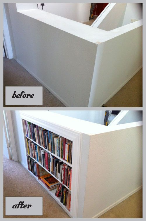 Adding book shelves between the studs. This tutorial has step by step directions with picture. I so want to do this upstairs on my half stair wall.