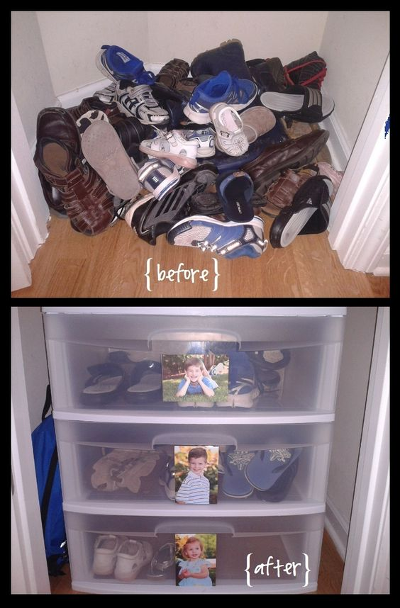How To Turn a Small Closet into a Mini-Mudroom. I love the kid photos on the fronts of each drawer!