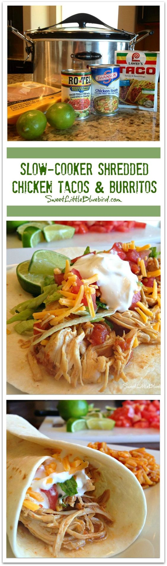 SLOW-COOKER SHREDDED CHICKEN TACOS AND BURRITOS - Just a few ingredients to make, so simple, so good. The only way I make chicken tacos and burritos!!