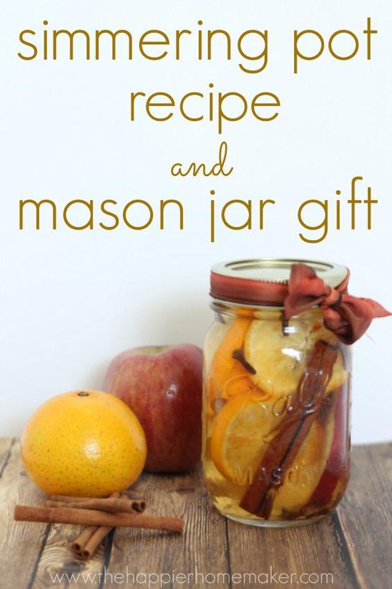Simmering pot recipe and mason jar gift.