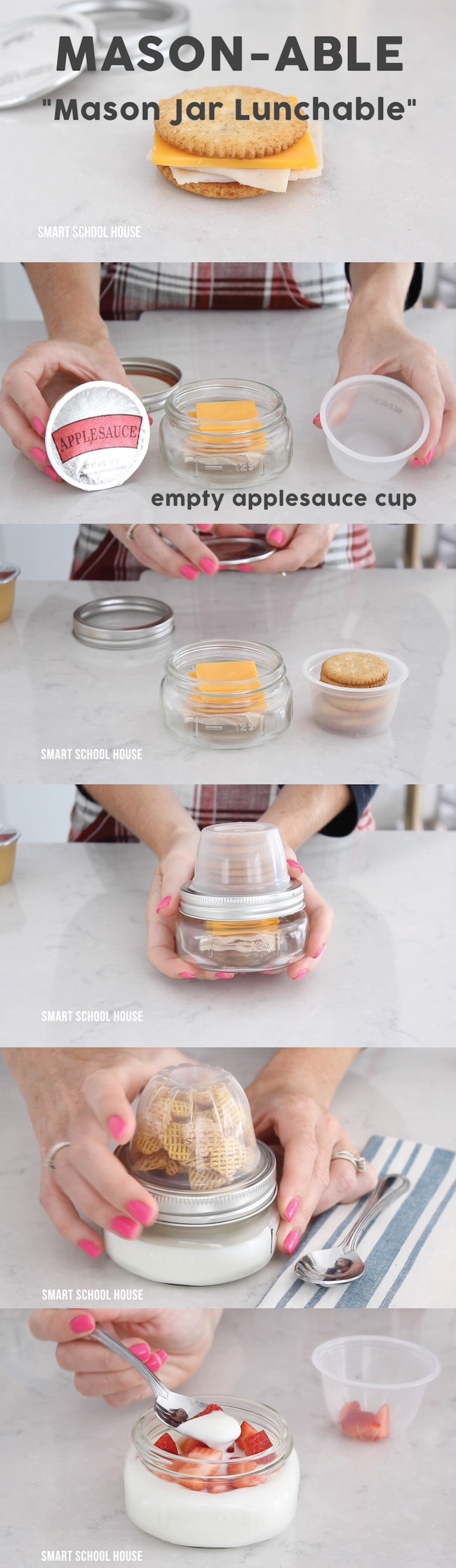 Mason Jar Lunchable. Pack snacks in Mason jars using this little trick