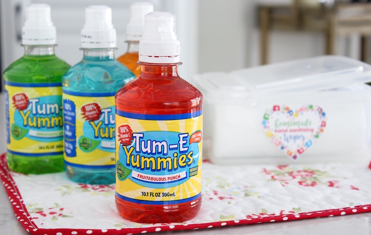 Tum-E Yummies vitamin packed and flavorful hydration drink for kids in a small size bottle and a sports cap.