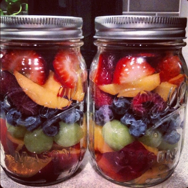Mason Jar Fruit Salad - I prep everything on a Sunday and make jars for the week.