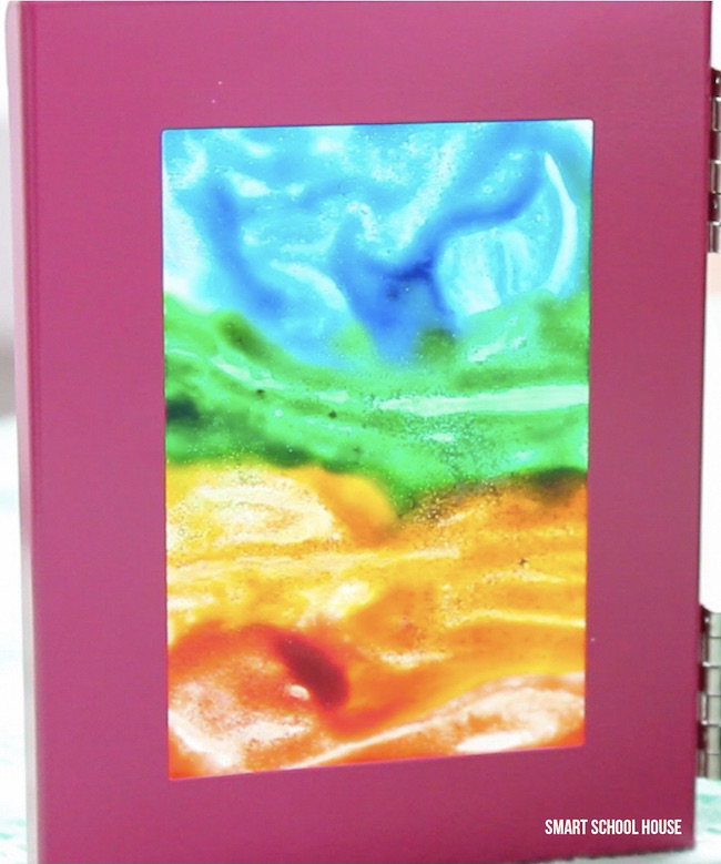 Colorful cave artwork brought to life. Easy DIY stained glass art idea for kids