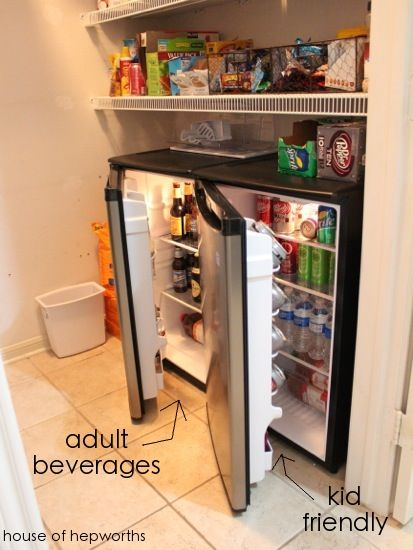 Mini fridges in pantries for drinks you don't have room for in the fridge in your kitchen. Brilliant!