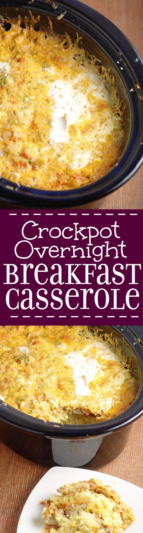 Crockpot Overnight Breakfast Casserole recipe with eggs, sausage, bacon, hash browns, and cheese.