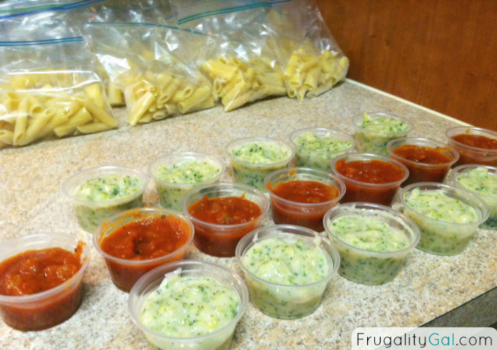 Microwavable Pasta Lunch Packets - These freezable pasta lunches come in at just $0.24 per serving. Not only are they insanely inexpensive (can you even buy a pack of gum for $0.25?), they offer convenience and endless possibilities for variety to spice up your work lunches.
