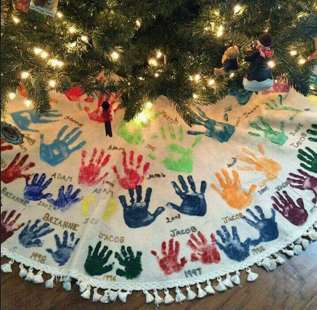 What an awesome tradition for Christmas! Have each grandchild and family member put their handprints on the tree skirt.