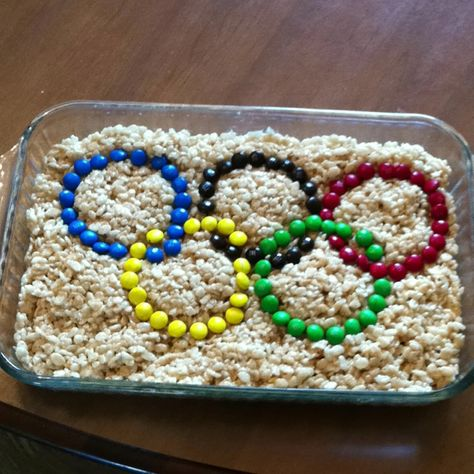 Getting ready to watch the Rio Olympics! Rice Krispies treats with M&Ms.