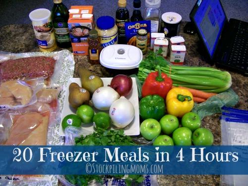 20 Freezer crock pot dump meals in 4 hours!