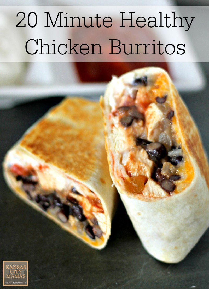 20 Minute Low Fat Healthy Chicken Burrito Recipe. This is a great idea for busy work and school nights. They will fill everyone up, and best of all, they are quick to make.
