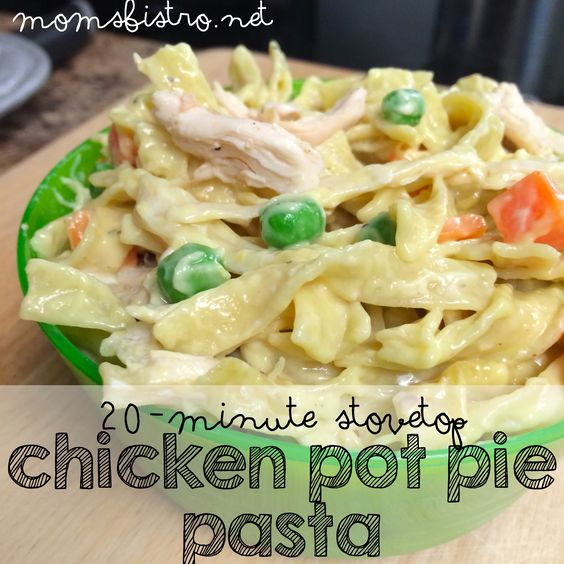 20 minute stove top chicken pot pie pasta kid friendly recipe. Great to try on a busy weeknight.