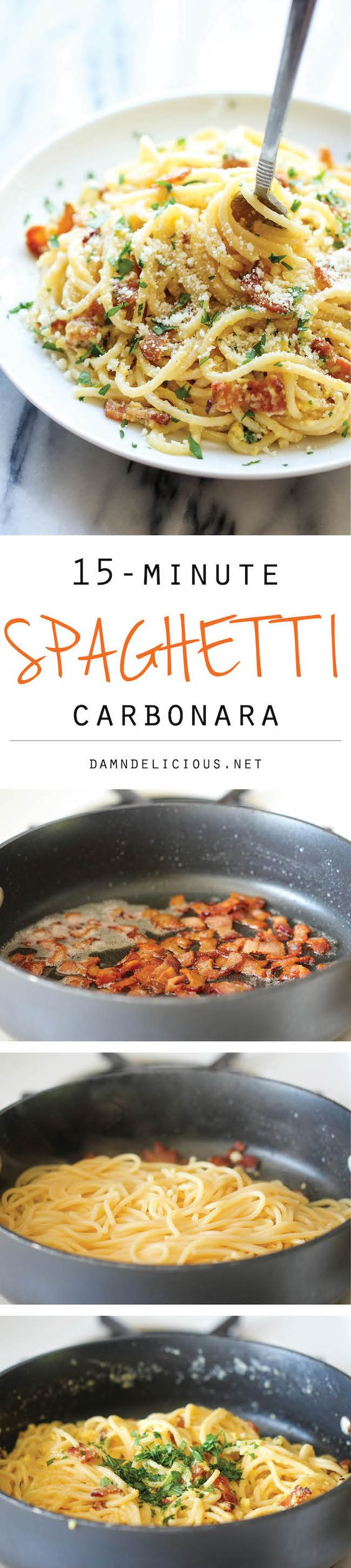 Spaghetti Carbonara - The easiest pasta dish you will ever make with just 5 ingredients in 15 minutes, loaded with Parmesan and bacon! Click the picture for the recipe instructions.