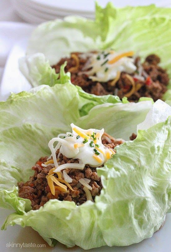 Turkey Taco Lettuce Wraps. Tacos without the extra calories! These would be great to take to work for lunch.