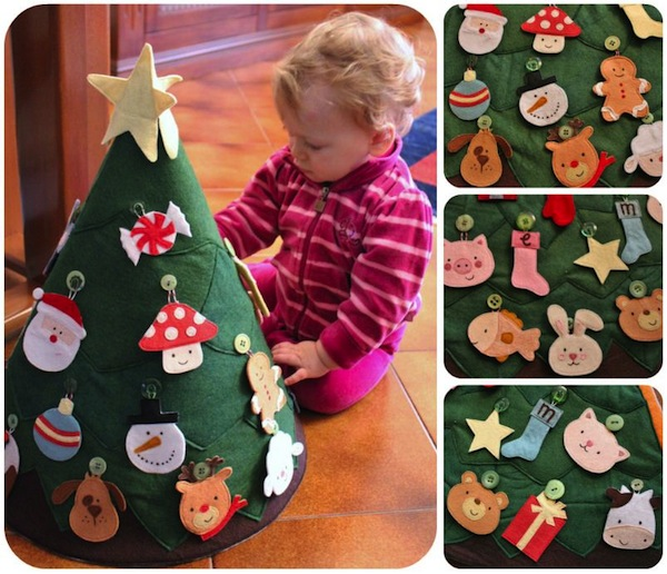 DIY Toddler Christmas tree! Made with felt and fun kid-friendly ornaments.