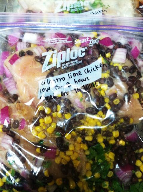 "Cilantro Lime Chicken crock pot dump recipe. AKA ""A burrito bowl in a bag""."