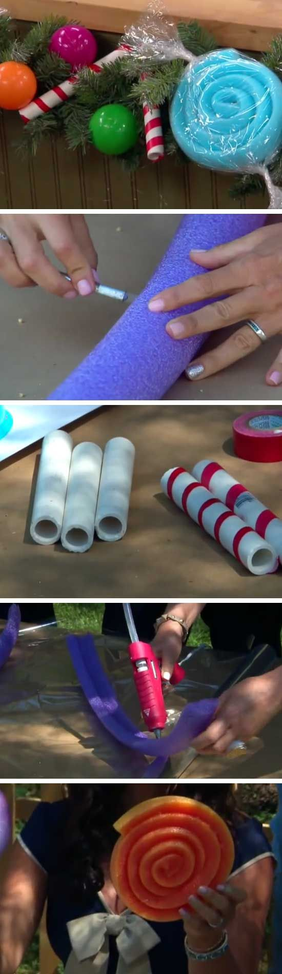 How to make a candy garland for Christmas with pool noodles, PVC pies, and other easy to find items!