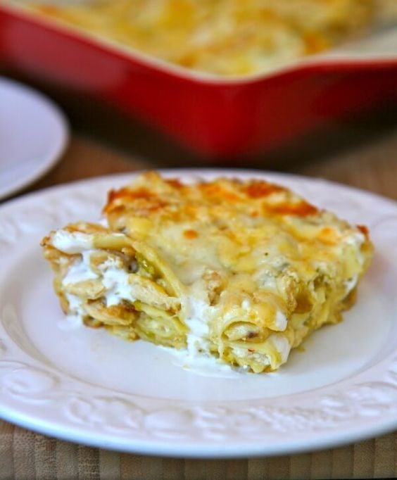 Green Chili and Chicken Lasagna with Mozzarella, Queso Quesadilla Jalapeno, and Crema Mexicana. Wow! And it only takes 20 minutes to make.